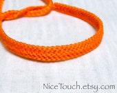 Bright Orange solid color knotted friendship bracelet ~ Made to Order