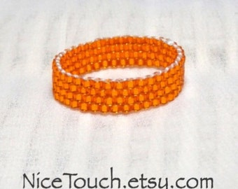 SUMMER SALE!!! Free Shipping or Save 20% ~ Pumpkin Orange peyote woven glass beaded ring ~ Made to Order