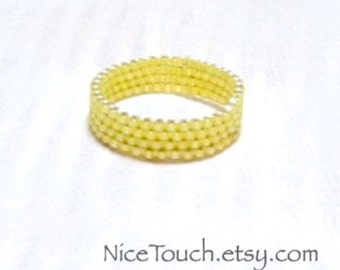 SUMMER SALE!!! Free Shipping or Save 20% ~ Daffodil Yellow peyote woven stackable beaded ring ~ Made to Order