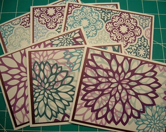 Purple and Teal Mums Patterned Notecards - Blank Inside - Set of 6 - Thank You, Notes