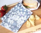 Reusable Ecofriendly Sandwich Bag and Snack Bags - Shades of Grey - set of 3 - BEST SELLER