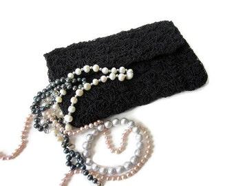Vintage Black Crochet Clutch Evening Bag Artel 1950s