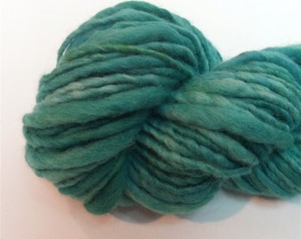 """Alpaca and Wool Thick and Thin Super Bulky Handspun Yarn 70 Yds  Teal Blue  Hand Dyed  """" Peacock  """" Doll Hair Knitting Supply"""