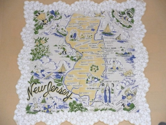 REDUCED Souvenir New Jersey Map and by SimplyElegantVintage – New Jersey Tourist Attractions Map