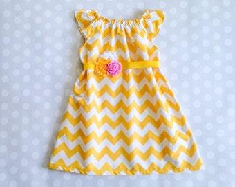 Sleeveless Yellow Chevron Dress