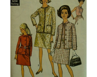 "1960s Suit Pattern, Collarless Jacket, Princess Seams, Lined, Pockets, A-Line Skirt, Tie Blouse, Simplicity No. 8597 Size 16 (Bust 38"" 97cm)"