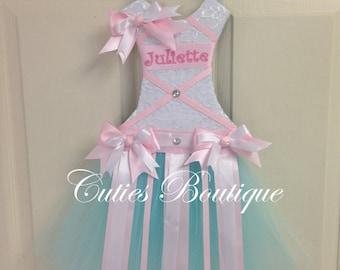 Tutu Dress Hair Bow Holder Aqua White and Pink --- Personalized