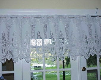 Free Shipping..Vintage Victorian Style White Floral Lace Curtain 76 inches Wide