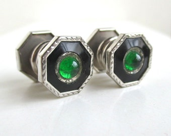 Just Rite Cuff Links / Shirt Buttons - Octagon w/ Green Centers, Vintage