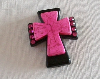 Large Stacked Black Stone Cross with Hot Pink Stone Cross and Bling