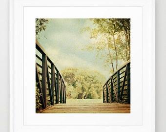 Nature Photography - Cottage Chic - Bridge photograph - Textured Art - Sage Green - Brown Bridge - Modern photo - wall Print - home decor