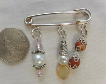 Small Silver Plated Kilt Pin Broach with Glass Bead, Silver Plated and Glass Bead and Mother of Pearl Charms