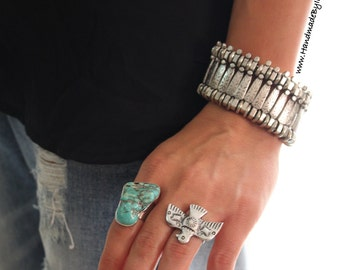 Wide linked Boho Silver plated Bracelet  Antalya Turkish style ethnic Tribal adjustable stackable bracelet by Inali