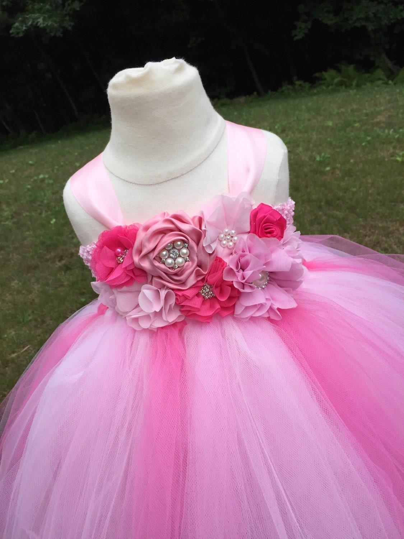 Pink tulle girls dress girls pink flower girl dress hot pink
