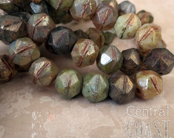 Pirate Nuggets - 10mm Czech Glass English Cut Chunky Picasso Beads (8) Earthy Opalite Mix - Antique Cut Tumbled Boho - Central Coast Charms
