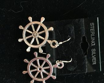 Silver Ship's Wheel Nautical Dangle Drop Earrings