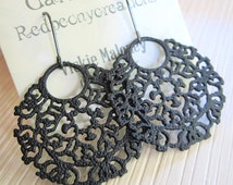 Black Hoop Earrings, Black Filigree Hoop Dangle Bohemian Redpeonycreations