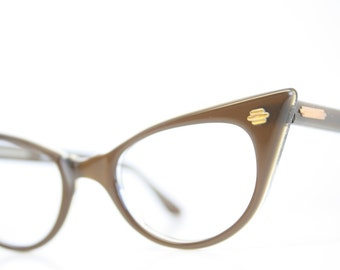 Brown Pointy vintage cat eye glasses cat eye frames New Old Stock