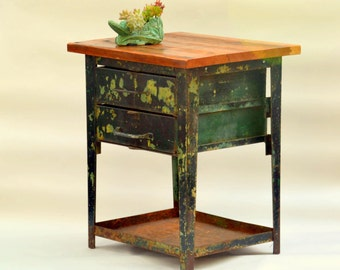 Steel Industrial Workshop Table + Dovetail Wooden Top: 2 Drawer Green & Black Tool Chest / Garden Plant Stand -- Stunning Distressed Patina