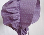 Baby Bonnet, Purple Sun Bonnet,  Pioneer Bonnet ,Baby Girl Bonnet, Toddler Bonnet -  Ready to Ship