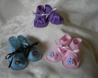 Rustic Handstitched Felt Booties for Baby