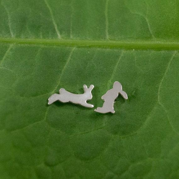 Silver Rabbit earrings: A pair of Bunny shaped sterling silver earrings.