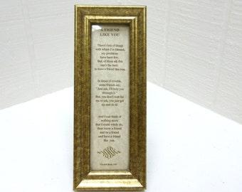 Vintage Judith Bond Poem Framed / A Friend Like You