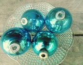 SHINY BRITE. Christmas Ornaments. Tree ornament. Christmas decoration. 1950s Christmas. Made in USA. Teal Blue. glass 3 marked Shiny Brite
