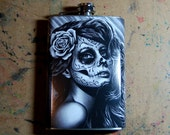 Tattoo Art Stainless Steel 8 oz. Hip Duality Black and White Tattoo Sugar Skull Girl Day of the Dead Rose Flask Lowbrow