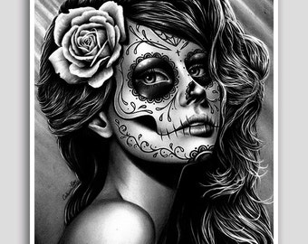 30 PERCENT OFF 18x24 in Art Print - Duality - Pretty Black and White Day of the Dead Sugar Skull Girl Poster