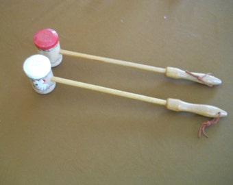 Woodpecker Wood Ware Long Handled Salt and Pepper Shakers - vintage, collectible, wood