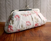 Clearance. Floral clutch, wedding clutch, spring fashion, Ivory clutch, rose clutch, cotton clutch with red roses