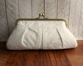 Wedding clutch, bridal bag, cotton framed clutch, off-white clutch purse, eyelet clutch