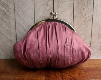 Clearance. Gathered pink silk clutch, kisslock clutch, Pink clutch, rose colored small clutch purse with wrist strap