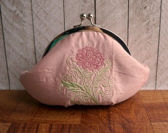 Clearance. Pale pink, pastel pink evening bag, personalized stamped charm, rose pink silk clutch purse wristlet with embroidered pink peony