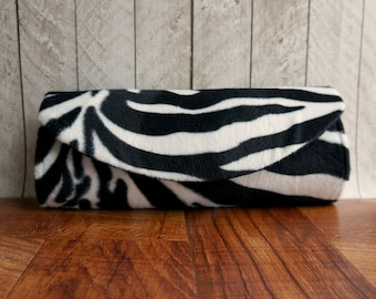 Zebra clutch purse, Black clutch, black and white striped clutch, Animal print clutch bag