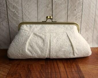 Wedding clutch, bridal bag, cotton framed clutch, off-white clutch purse, eyelet fabric
