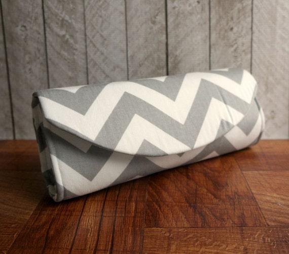 Zigzag clutch bag, white and grey clutch, chevron clutch purse