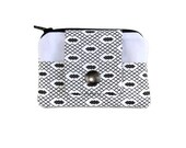 Small Wallet, Coin Purse & Card Holder in White and Black, Stylish Pocket Wallet, Card Case, Zippered Pouch