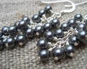 Grey Pearl Waterfall Earrings