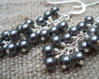 Grey Pearl Waterfall Earrings