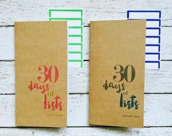 30 Days of Lists . Listers Gotta List . Midori Travelers Fauxdori Notebook Sketchbook Jotter Refill Insert . Typography . Art Journal Agenda