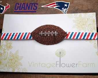 Beaded Rhinestone Texans, Patriots, Giants Football Headband
