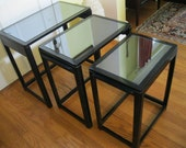 Black Lacquered Nesting Tables / Art Deco Tables