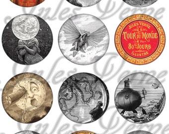 Jules Verne Magnets, Jules Verne Pins,  Sci Fi, Steampunk Magnets, Party Favors, Wedding Favors, Gift Sets