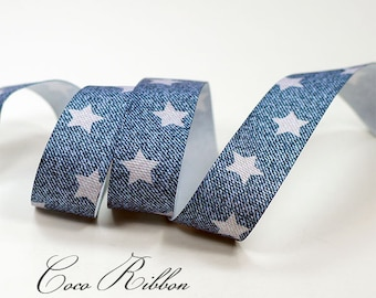 10 Yards 7/8 22mm Blue Denim Star Jeans Print Grosgrain Ribbon