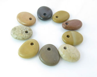 Top Drilled Beach Stones 9 pcs Jewelry Supplies- Eco Friendly Colorful Medium Beads Beach Pebbles for Crafts DIY