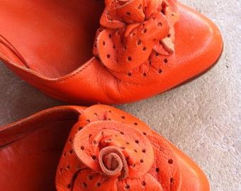 Tangerine Italian d'Orsay Heels flower detail 80's 6