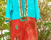 Long Coat Color Block Fire Coral Bright Turquoise Upcycled Denim Jacket Hand Dyed Women's Size S/M