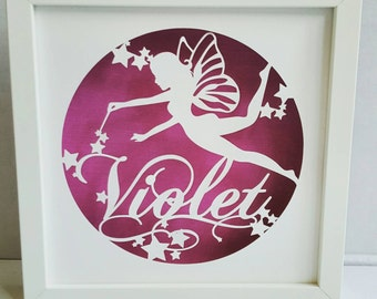 A beautiful fairy framed personalised paper cut art work